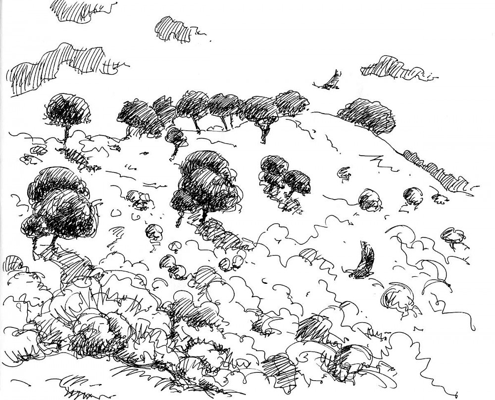 Landscape along the Tajo, ink