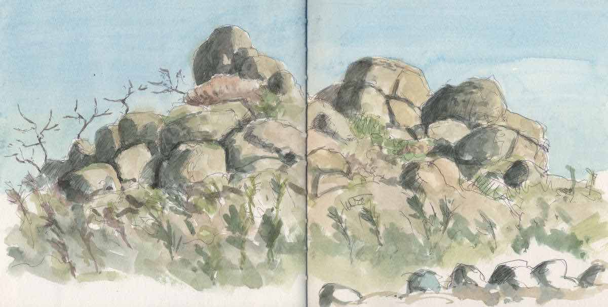 Rocks, ball point and watercolor