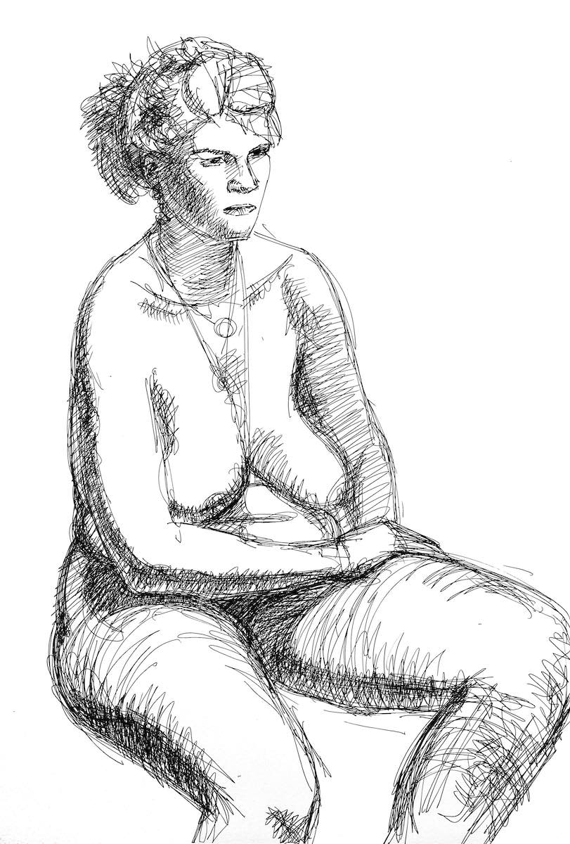 Sitting nude, ink