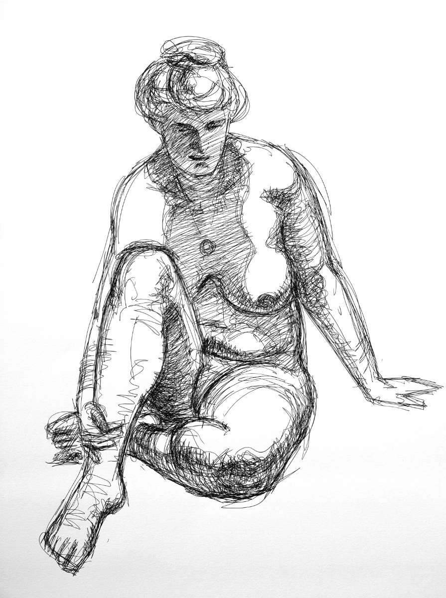 Sitting nude on the floor, ink