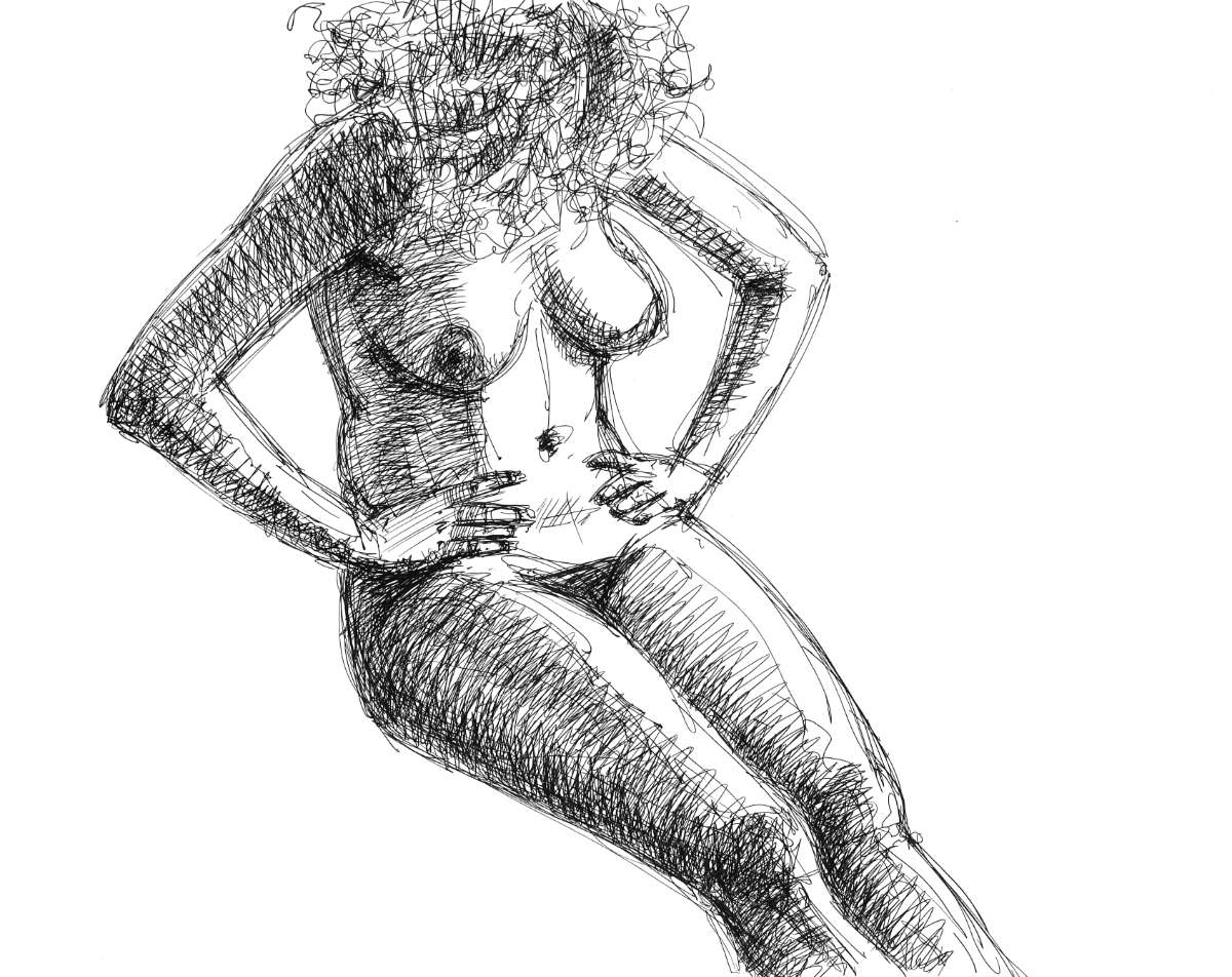 nude girl sitting, ink